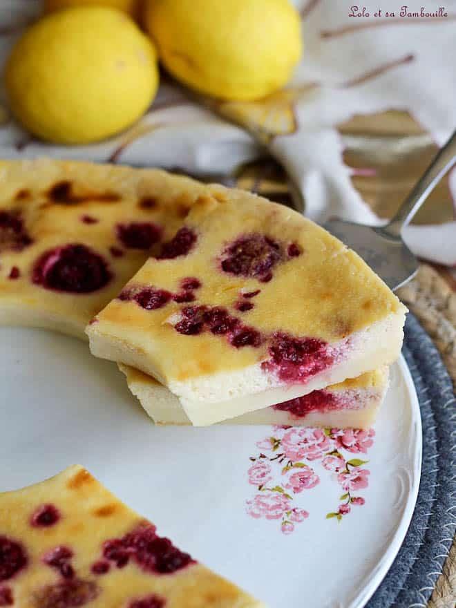 Recette de flan sans pâte citron framboise