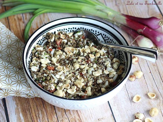 Salade lentilles chorizo feta