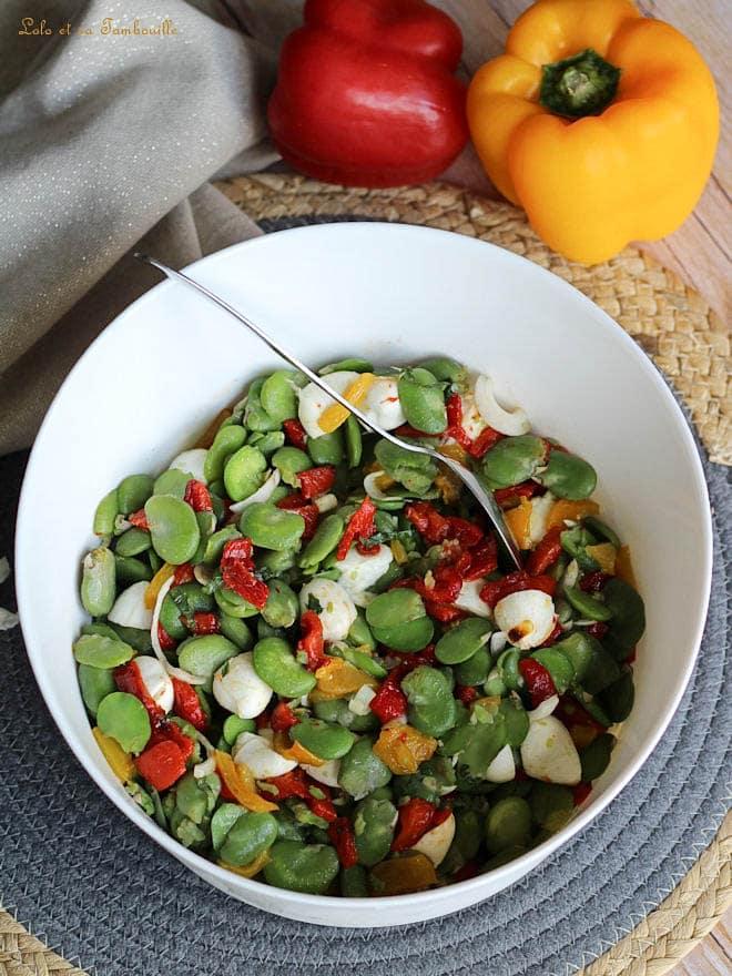 salade, fèves, poivrons