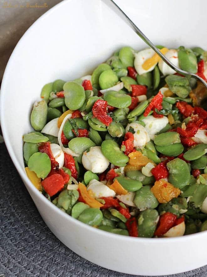 recette de salade, poivrons grillés