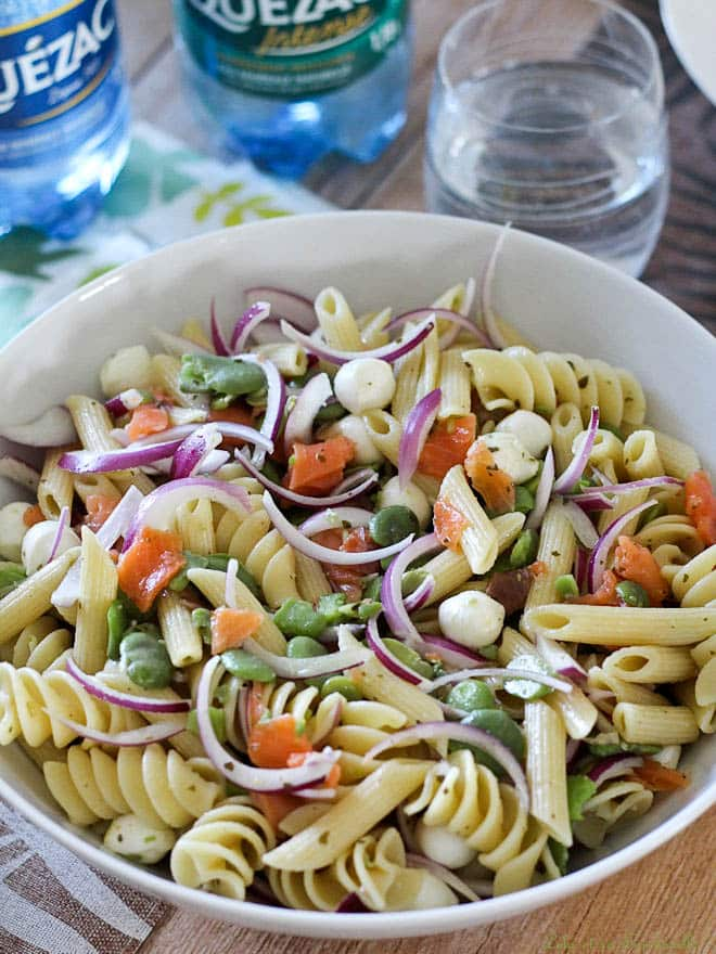 Mozzarella fève saumon fumé pâtes salade