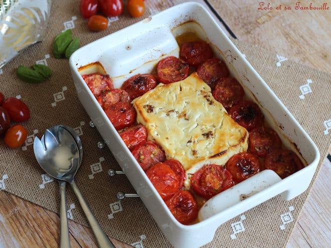 feta rôtie aux tomates cerises,feta rotie tomates cerises,feta rotie,feta rotie recette