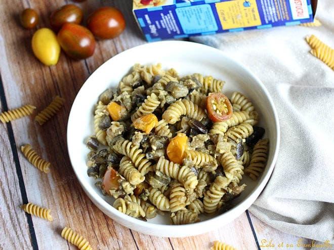 pâtes aux aubergines,pâtes aubergines parmesan,pâtes aubergines,pâtes aubergines pesto