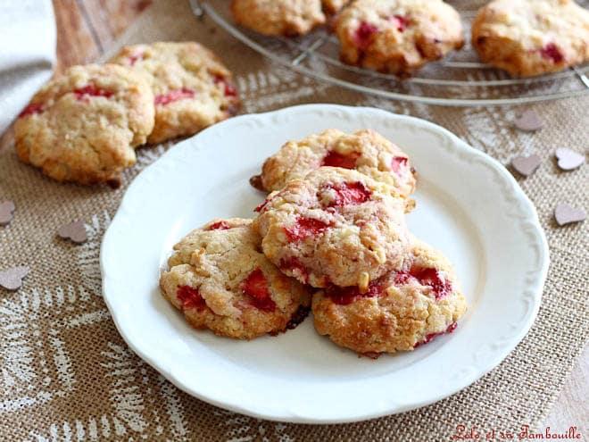cookies aux fraises,cookies aux fraises fraiches,cookies fraises chocolat blanc,cookies fraises chocolat