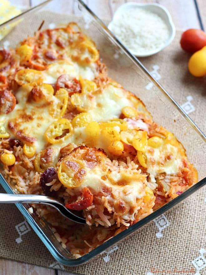 recette de gratin de tomates avec du riz et de la mozzarella