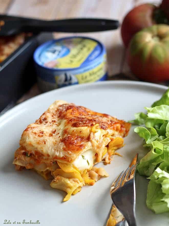 part de lasagnes avec des courgettes et du thon