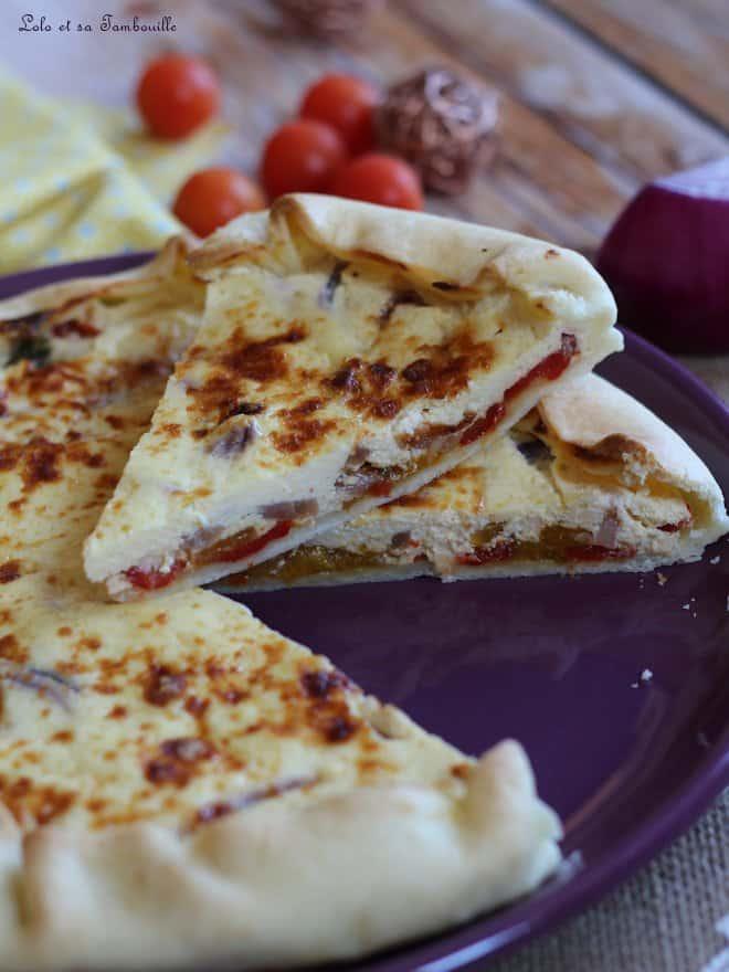 tarte repas avec ricotta et poivron grillé