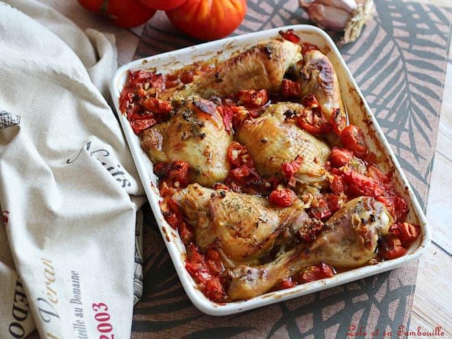 Cuisses de poulet au four,cuisse de poulet au four croustillante,cuisse de poulet au four rapide,cuisse de poulet au four tomate