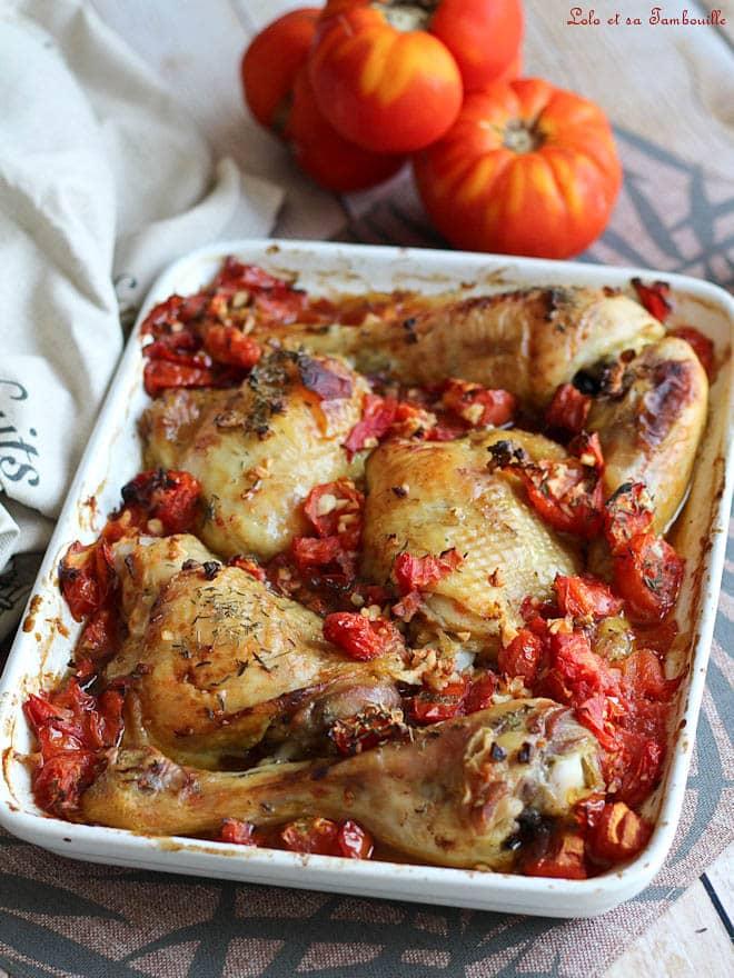 recette de cuisses de poulet au four avec des tomates