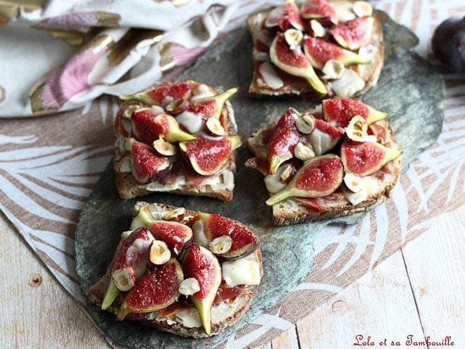 tartines aux figues,tartine aux figues au jambon et au fromage de chèvre,tartine aux figues