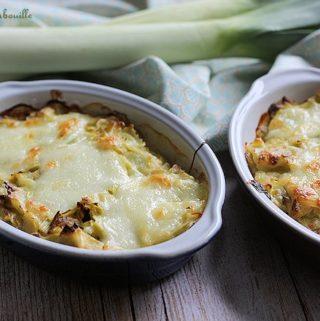Gratin ravioles poireaux mozzarella